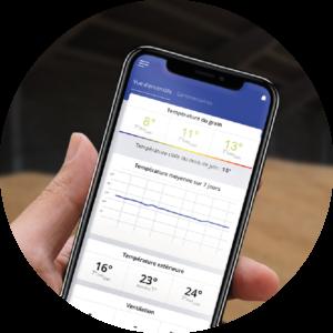 smartphone Javelot application suivi des températures