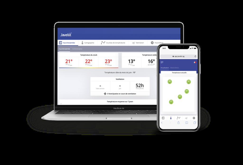 application Javelot suivi température smartphone macbook